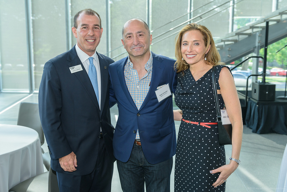 Kaveh Zamanian, Heather Bass and Republic Bank Vice-President Steve Deweese at the 10-year anniversary celebration of Republic Bank's Private Banking and Business Banking divisions Wednesday, May 17, 2017, at the Speed Art Museum in Louisville, Ky. (Photo by Brian Bohannon)