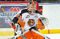 KELOWNA, BC - NOVEMBER 8: Garin Bjorklund #33 of the Medicine Hat Tigers warms up in net against the Kelowna Rockets at Prospera Place on November 8, 2019 in Kelowna, Canada. (Photo by Marissa Baecker/Shoot the Breeze)