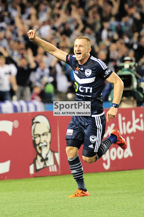 "Besart Berisha of Melbourne Victory celebrates his winning goal in the Hyundai A-League - October 17th 2015 - ROUND 2- Melbourne Victory FC v Melbourne City FC in the first derby for the 2015 season with a 3:2 win to Victory on the 90"" - © Mark Avellino 