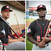 The Vancouver Canadians third baseman, Ryan Metzler (left) and outfielder, Roemon Fields.