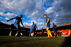 Shrewsbury Town subs warm up at the Valley ahead of the first leg of the Sky Bet League One Playoff Semi-Final against Charlton Athletic - Mandatory by-line: Robbie Stephenson/JMP - 10/05/2018 - FOOTBALL - The Valley - Charlton, London, England - Charlton Athletic v Shrewsbury Town - Sky Bet League One