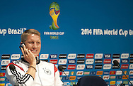 Bastian Schweinsteiger of Germany during a press conference at Maracana Stadium, Rio de Janeiro<br /> Picture by Stefano Gnech/Focus Images Ltd +39 333 1641678<br /> 12/07/2014