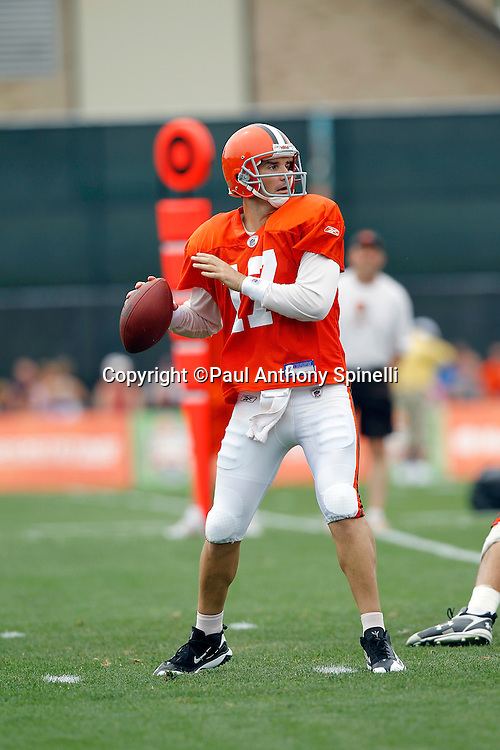 Cleveland Browns quarterback Jake Delhomme (17) throws a pass during NFL football training camp at the Cleveland Browns Training Complex on Monday, August 9, 2010 in Berea, Ohio. (©Paul Anthony Spinelli)