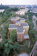 Overhead view of a building complex