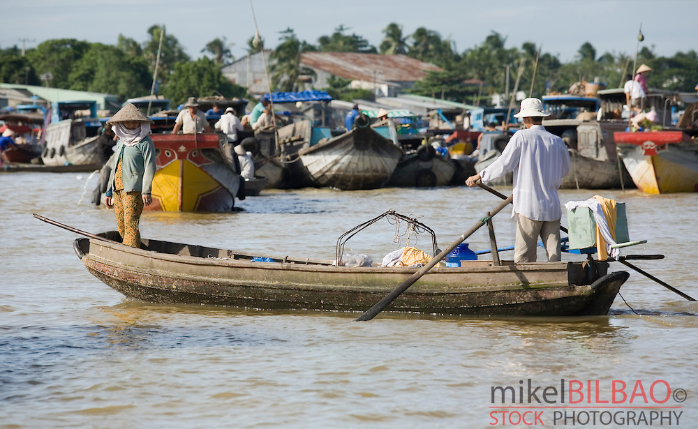 boats on a floating market. Can Tho City. <br />
