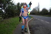 Mick Cullen known as Speedo Mick walking to Reading, Everton on 4 February 2020.