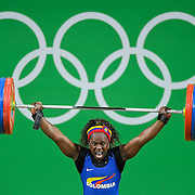 Ubaldina Valoyes Cuesta of Columbia reacted to lifting 106kg in the snatch during the women's 75kg Group A weightlifing final on Friday at the Riocentre Pavillion during the 2016 Summer Olympics Games in Rio de Janeiro, Brazil.