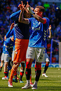 Rangers Captain James Tavernier celebrates following their victory over Celtic during the Ladbrokes Scottish Premiership match between Rangers and Celtic at Ibrox, Glasgow, Scotland on 12 May 2019.