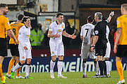 Manchester United's Michael Carrick argues with Referee Christopher Foy during the The FA Cup match between Cambridge United and Manchester United at the R Costings Abbey Stadium, Cambridge, England on 23 January 2015. Photo by Phil Duncan.