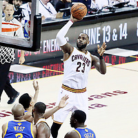 09 June 2017: Cleveland Cavaliers forward LeBron James (23) goes for the jump shot during the Cleveland Cavaliers 137-11 victory over the Golden State Warriors, in game 4 of the 2017 NBA Finals, at  the Quicken Loans Arena, Cleveland, Ohio, USA.