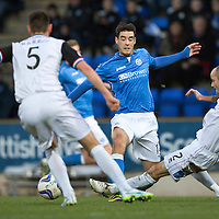 St Johnstone v Inverness Caledonian Thistle...20.12.14   SPFL<br /> David Raven tackles Brian Graham<br /> Picture by Graeme Hart.<br /> Copyright Perthshire Picture Agency<br /> Tel: 01738 623350  Mobile: 07990 594431