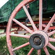 A wagon on display at the Clear Creek History Park in Golden, Colorado, showing the historic frontier life of the region's early settlers.