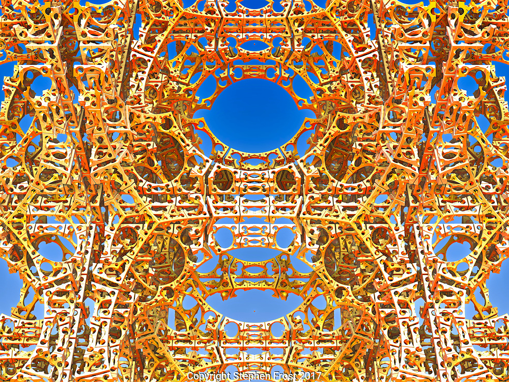 A digital image using fractals depicting a metallic mesh or cage-like structure, perhaps a section of tower.
