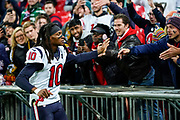 Houston Texans Wide Receiver DeAndre Hopkins (10) high fives the fans during the International Series match between Jacksonville Jaguars and Houston Texans at Wembley Stadium, London, England on 3 November 2019.
