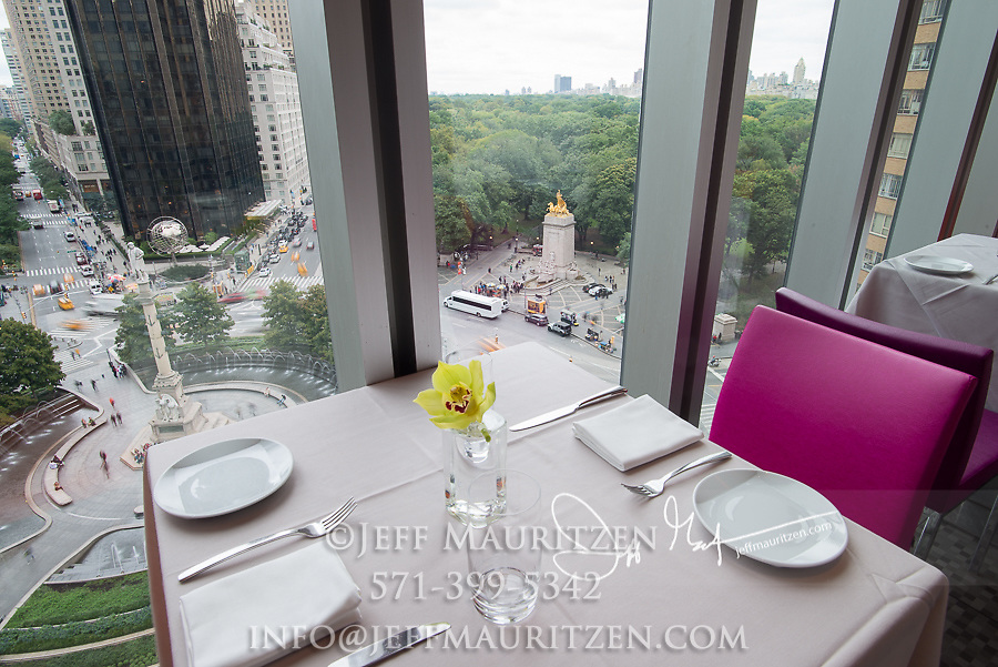 The Robert restaurant at the top floor of the Museum of Arts & Design overlooks Columbus Circle and Central Park, Manhattan, NYC.