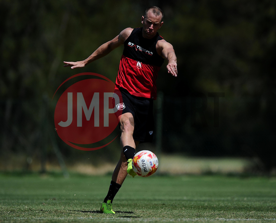 Aaron Wilbraham of Bristol City Shoots  - Photo mandatory by-line: Joe Meredith/JMP - Mobile: 07966 386802 - 17/07/2015 - SPORT - Football - Albufeira -  - Pre-Season Training