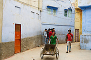 Children on the streets in the blue city Jodhpur, India