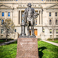 George Washington Statue at the Indianapolis Indiana Statehouse. The bronze sculpture was created by  Donald De Lue. The Indiana Statehouse in located in downtown Indianapolis Indiana and was built in 1888. Picture is high resolution.