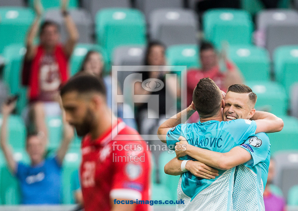 Milivoje Novakovic of Slovenia celebrates scoring the second goal during the 2018 FIFA World Cup Qualifying match at SRC Stozice, Ljubljana<br /> Picture by EXPA Pictures/Focus Images Ltd 07814482222<br /> 10/06/2017<br /> *** UK &amp; IRELAND ONLY ***<br /> <br /> EXPA-SLO-170610-0035.jpg