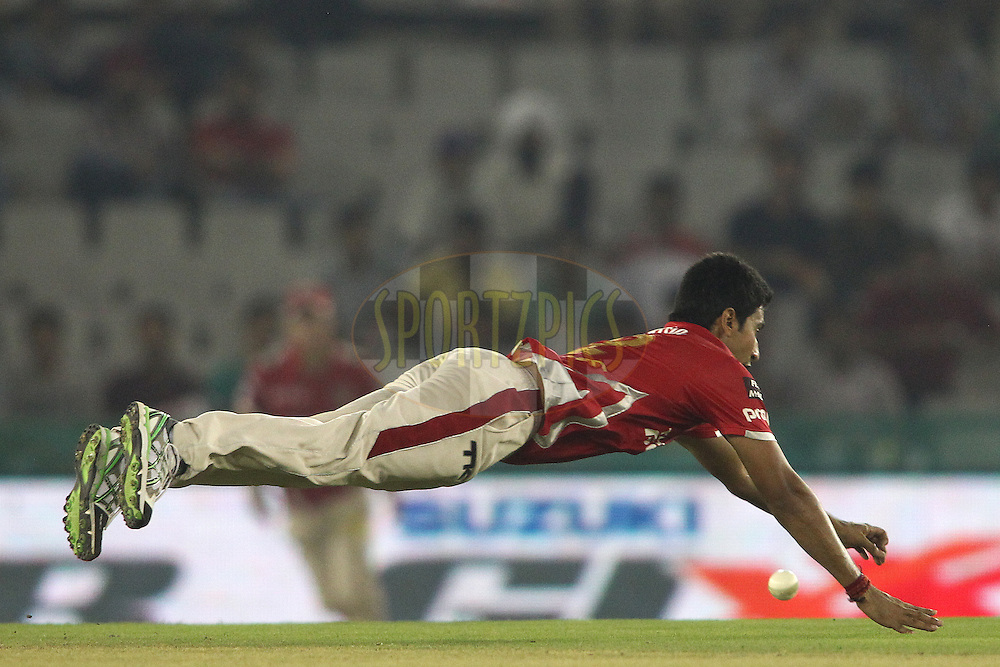 Karanveer Singh of the Kings XI Punjab dives while attempting to save a run during match 2 of the Oppo Champions League Twenty20 between the Kings XI Punjab and the Hobart Hurricanes held at the Punjab Cricket Association Stadium, Mohali, India on the 18th September 2014<br /> <br /> Photo by:  Shaun Roy / Sportzpics/ CLT20<br /> <br /> <br /> Image use is subject to the terms and conditions as laid out by the BCCI/ CLT20.  The terms and conditions can be downloaded here:<br /> <br /> http://sportzpics.photoshelter.com/gallery/CLT20-Image-Terms-and-Conditions-2014/G0000IfNJn535VPU/C0000QhhKadWcjYs