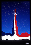 Illustration: Launch of the Space Shuttle Atlantis ©Ed Hille / Picturedesk.Net.ONE TIME USE ONLY