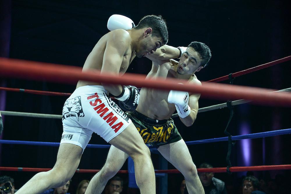 Friday, April 4, 2014, New York, NY: Zarukh Adashov(black/yellow trunks) Vs Julio Arce(White shorts) at The Capitale Ballroom in Combat at The Capitale 32.
