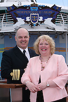 Royal Caribbean's Independence of the Seas..The worlds largest cruise ship, Independence of the Seas is named today in Southampton by Godmother Elizabeth Hill from Derbyshire..The Godmother was chosen following a nationwide search, led by Sir Steve Redgrave and Royal Caribbean's charity partner, the Steve Redgrave Fund, to find a woman who had done extraordinary work to improve the lives of young people..Pic shows - Captain Teo Strazicic, and Godmother Elizabeth Hill ..Queries pls phone Sarah Rathbone - 07967361511