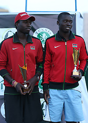 Ibrahim Kibet Yego (L) and Mzai Ismael Changawa from Kenya celebrates after emerging 2nd during their 14th African Nations Cup (CAN) 2016 mens doubles on the Final day at Nairobi Club on November 13, 2016. Photo/Fredrick Onyango/www.pic-centre.com (KEN)