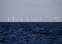 UK ENGLAND SOUTH COAST 12MAY11 - Offshore wind turbine park on the coast of the United Kingdom, seen from aboard a ship in the English Channel...Photo by Jiri Rezac