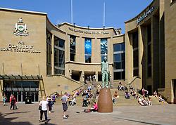 Daytime view of Glasgow Royal Concert Hall on Buchanan Street in Glasgow, Scotland, UK