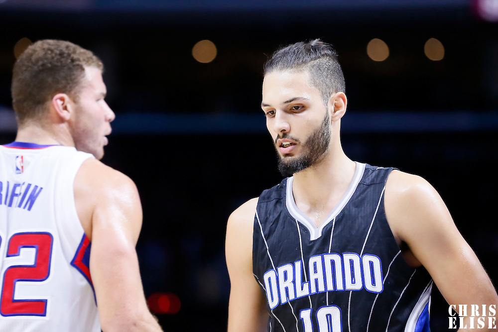 03 December 2014: Orlando Magic guard Evan Fournier (10) is seen next to Los Angeles Clippers forward Blake Griffin (32) during the Los Angeles Clippers 114-86 victory over the Orlando Magic, at the Staples Center, Los Angeles, California, USA.