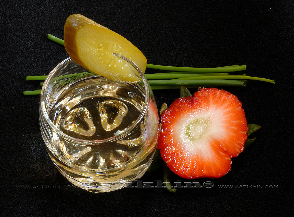 Glass, strawberry, chive and cucumber in brain