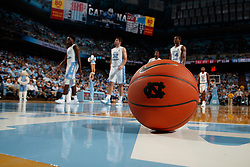 CHAPEL HILL, NC - NOVEMBER 19: A general view of a ball with the logo of the North Carolina Tar Heels sits on the court during a game between the North Carolina Tar Heels and the St. Francis (Pa) Red Flash on November 19, 2018 at the Dean Smith Center in Chapel Hill, North Carolina. North Carolina won 101-76. (Photo by Peyton Williams/UNC/Getty Images)