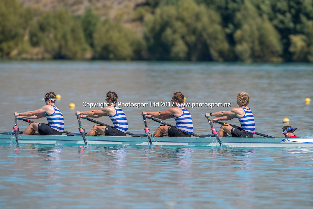 Star Boating Club (Wellington) 1st place Men's novice coxed quad sculls , Carson Bluck (stroke), Elliot Pearce, Louis Grainger, Kairori McGuinniety and Liam Avery (coxswain) ,  NZ Rowing Championships, 16 February 2017 , Lake Ruataniwha © Copyright photo: Steve McArthur / www.photosport.nz