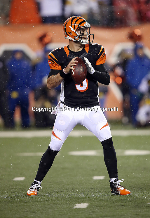 Cincinnati Bengals quarterback AJ McCarron (5) drops back to pass during the NFL AFC Wild Card playoff football game against the Pittsburgh Steelers on Saturday, Jan. 9, 2016 in Cincinnati. The Steelers won the game 18-16. (©Paul Anthony Spinelli)