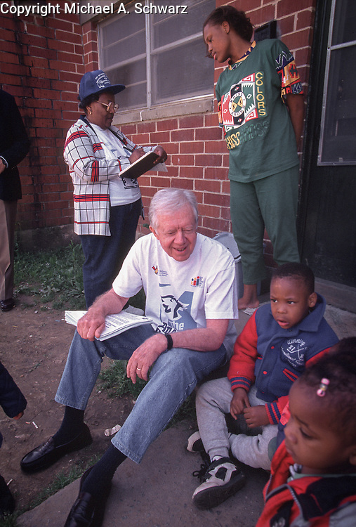 Jimmy Carter goes door to door in an Atlanta neighborhood, urging parents to have their children vaccinated.