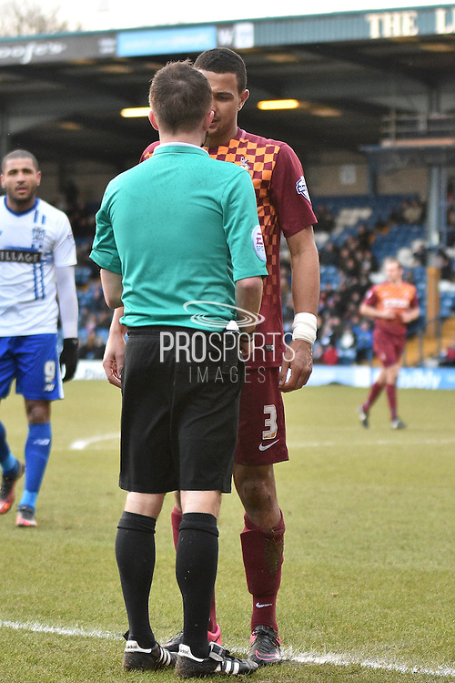 Bradford City Defender, James Meredith disagrees with the refs decision Bet League 1 match between Bury and Bradford City at the JD Stadium, Bury, England on 5 March 2016. Photo by Mark Pollitt.