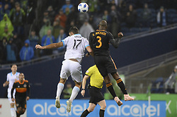 October 8, 2018 - Seattle, Washington, U.S - WILL BRUIN (17) and ADOLFO MACHADO (3) battle for the ball as the Houston Dynamo visits the Seattle Sounders in a MLS match at Century Link Field in Seattle, WA. Seattle won the match 4-1. (Credit Image: © Jeff Halstead/ZUMA Wire)
