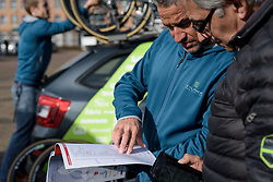 Manel Lacambra has a final check of the race route at Ronde van Drenthe 2017. A 152 km road race on March 11th 2017, starting and finishing in Hoogeveen, Netherlands. (Photo by Sean Robinson/Velofocus)