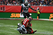 Carolina Panthers Defensive Back James Bradberry (24) tackles Tampa Bay Buccaneers Wide Receiver Mike Evans (13) during the International Series match between Tampa Bay Buccaneers and Carolina Panthers at Tottenham Hotspur Stadium, London, United Kingdom on 13 October 2019.
