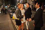 YASMIN LE BON; TALLULAH PINE LE BON; ALICE CAMPOBELL; JADE CALLIVA, , West End opening of RSC production of Julius Caesar at the Noel Coward Theatre on Saint Martin's Lane. After-party  at Salvador and Amanda, Gt. Newport St. London. 15 August 2012.