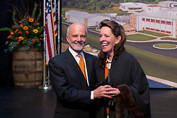Tom Bulleit, left with his wife Besty on his birthday and 30th anniversary of marriage and the Bulleit brand hosted a ribbon cutting with parent company Diageo, Tuesday, March 14, 2017 at Bulleit Distilling Company in Shelbyville.