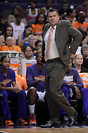Sep 21, 2013; Phoenix, AZ, USA; Phoenix Mercury head coach Russ Pennell reacts from the sidelines in Game 2 of a WNBA basketball Western Conference semifinal series against the Los Angeles Sparks at US Airways Center. The Sparks defeated the Mercury 82-73. Mandatory Credit: Jennifer Stewart-USA TODAY Sports