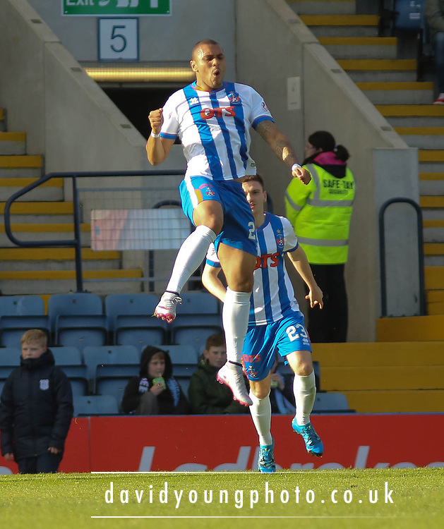Kilmarnock&rsquo;s Josh Magennis celebrates after heading the opener - Dundee v Kilmarnock, Ladbrokes Premiership at Dens Park <br /> <br />  - &copy; David Young - www.davidyoungphoto.co.uk - email: davidyoungphoto@gmail.com