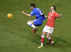 Bristol City's Luke Ayling tackles Gillingham's Joe Martin - Photo mandatory by-line: Alex James/JMP - Mobile: 07966 386802 - 29/01/2015 - SPORT - Football - Bristol - Ashton Gate - Bristol City v Gillingham - Johnstone Paint Trophy Southern area final