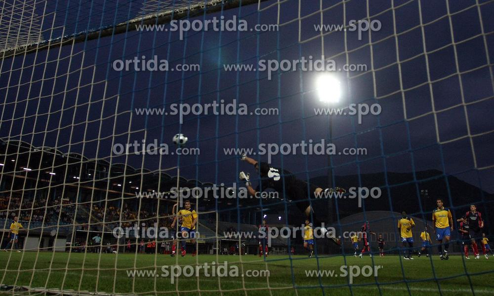 Goalkeeper of Vllaznia Olti Bishani  at 1st game of UEFA Cup  Qualifying Round 1 between FC Anet Koper, Slovenia vs KS Vllaznia Shkoder, Albania, on July 17, 2008, in Nova Gorica, Slovenia. Vlazznia won the match 2:1. (Photo by Vid Ponikvar / Sportal Images)