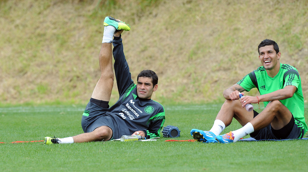 Mexico Football captain Rafa Marquez, left and Francisco Rodriguez at the teams first training run at Dave Farrington Park, Miramar after their arrival for the FIFA World Cup qualifier match against New Zealand on Wednesday, Wellington, New Zealand, Sunday, November 17, 2013. Credit:SNPA / Ross Setford