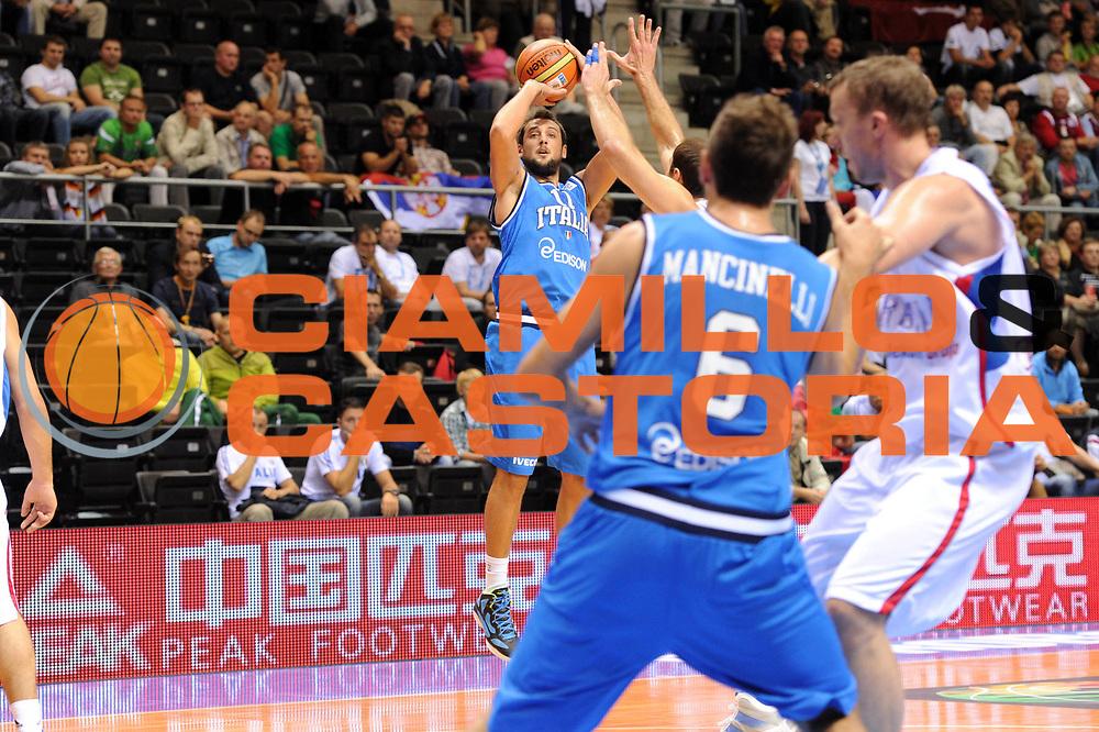 DESCRIZIONE : Siauliai Lithuania Lituania Eurobasket Men 2011 Preliminary Round Serbia Italia Serbia Italy<br /> GIOCATORE : Marco Belinelli<br /> SQUADRA : Italia Italy<br /> EVENTO : Eurobasket Men 2011<br /> GARA : Serbia Italia Serbia Italy<br /> DATA : 31/08/2011 <br /> CATEGORIA : tiro three point<br /> SPORT : Pallacanestro <br /> AUTORE : Agenzia Ciamillo-Castoria/G.Ciamillo<br /> Galleria : Eurobasket Men 2011 <br /> Fotonotizia : Siauliai Lithuania Lituania Eurobasket Men 2011 Preliminary Round Serbia Italia Serbia Italy<br /> Predefinita :