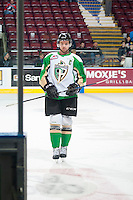 KELOWNA, CANADA - DECEMBER 6: Josh Morrissey #10 of Prince Albert Raiders skates to the exit at the end of warm up against the Kelowna Rocketson December 6, 2014 at Prospera Place in Kelowna, British Columbia, Canada.  (Photo by Marissa Baecker/Shoot the Breeze)  *** Local Caption *** Josh Morrissey;