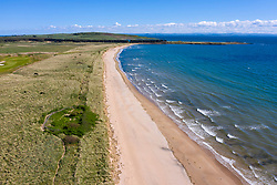 Aerial view of beach and dunes at Dumbarnie on Largo Bay in Fife, Scotland, UK